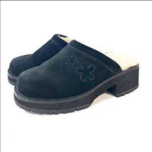 UGG Black Suede Fur Lined Clogs SZ 6